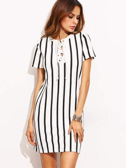 Black And White Stripe Lace Up Dress