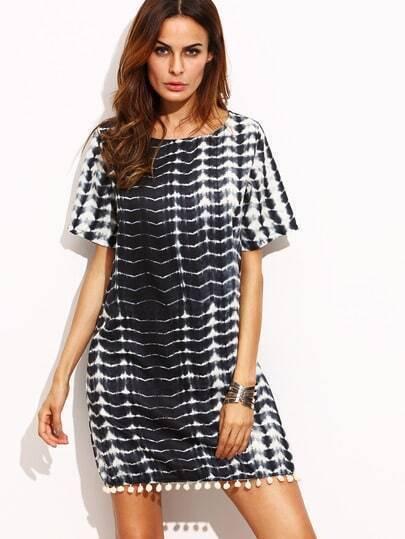 Black Tie-dye Pom Pom Dress