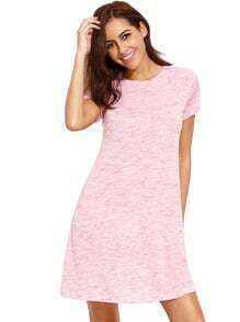 Pink Tees Short Sleeve Casual Dress
