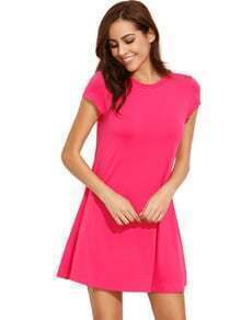 Hot Pink Short Sleeve Shirt Cut Swing Dress