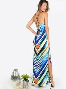 Striped Slit Maxi Dress STRIPE