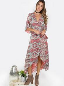 Paisley Hi-Lo Wrap Dress MULTI