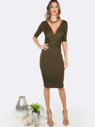 Deep V Bodycon Dress OLIVE