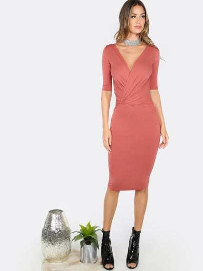 Quarter Sleeve Fitted Dress MARSALA