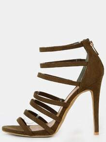 Faux Suede Open Toe Stiletto Heels OLIVE