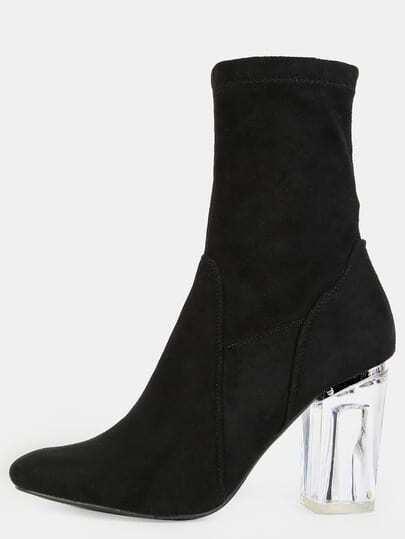 High Shaft Clear Heel Booties BLACK