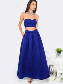 Royal Blue Tube Crop Top with A-Line Long Skirt