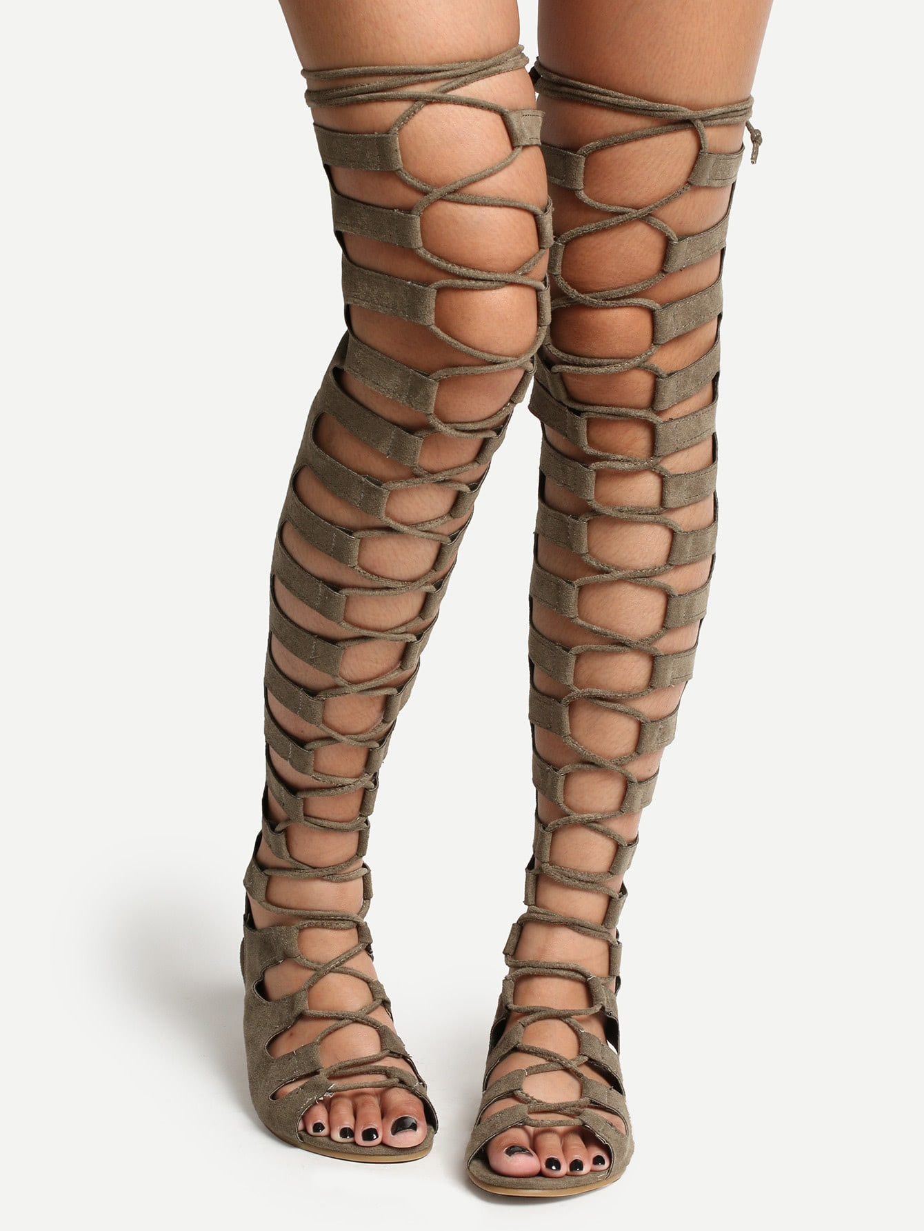 Lace Up Thigh High Zipper Back Gladiator Sandals