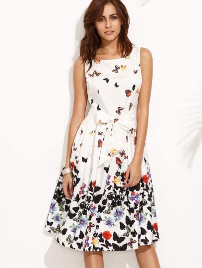 White V Back Butterfly Print Flare Dress