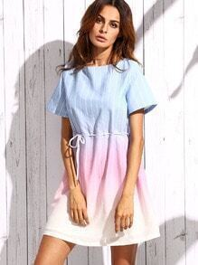 Ombre Vertical Stripe Shift Dress With Sashes