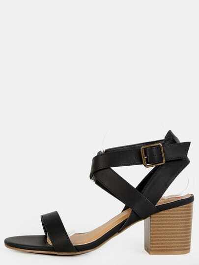 Open Toe Criss Cross Stacked Heels BLACK
