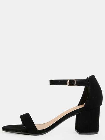 Open Toe Single Strap Block Heels BLACK