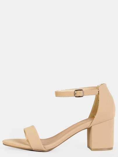 Open Toe Ankle Strap Chunky Heels NUDE