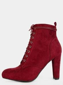Pointy Toe Faux Suede Ankle Boots BURGUNDY