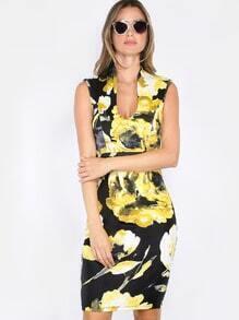 Sleeveless Floral Shift Dress YELLOW
