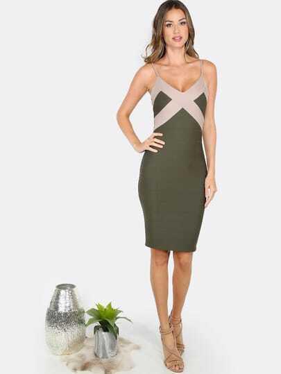 V Neck Bandage Dress OLIVE