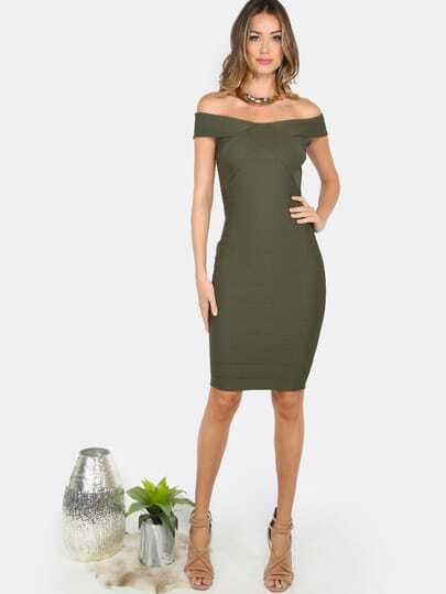 Bardot Bandage Midi Dress OLIVE