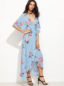 Multicolor Floral V Neck Tie Waist Asymmetrical Dress