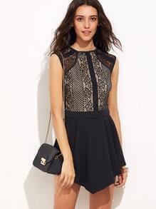 Black Cutout Back Asymmetrical Hem Lace Dress
