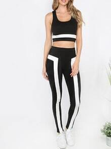 Black and White Scoop Neck Crop Top With Pants