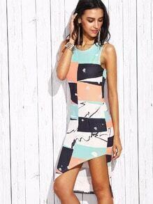 Multicolor Print Sleeveless Asymmetrical Dress