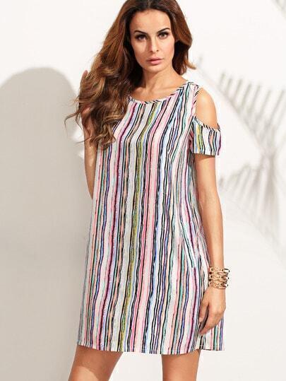 Multicolor Striped Cold Shoulder Shift Dress