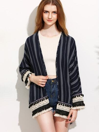 Navy Print Pom-pom Fringe Hem Long Sleeve Kimono