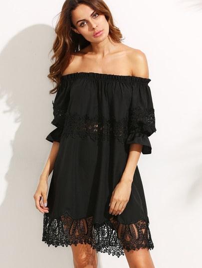 black lace off the shoulder shift dress shein sheinside. Black Bedroom Furniture Sets. Home Design Ideas