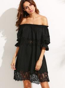Black Lace Off The Shoulder Shift Dress