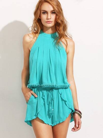 Turquoise Pompom Sleeveless Top With Tassel Tie Shorts