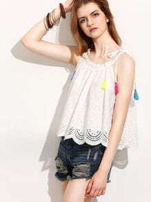 Beige Tassel Tie Shoulder Scallop Hem Cami Top