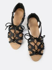 Gladiator Lace Up Sandal BLACK