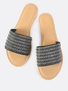 Beaded Crystal  Slip On Sandals BLACK