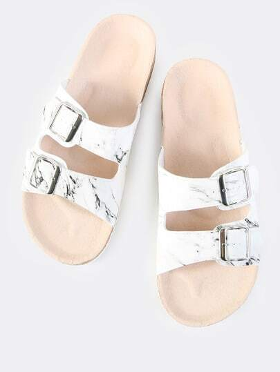 Double Buckle Marble Sandals MARBLE