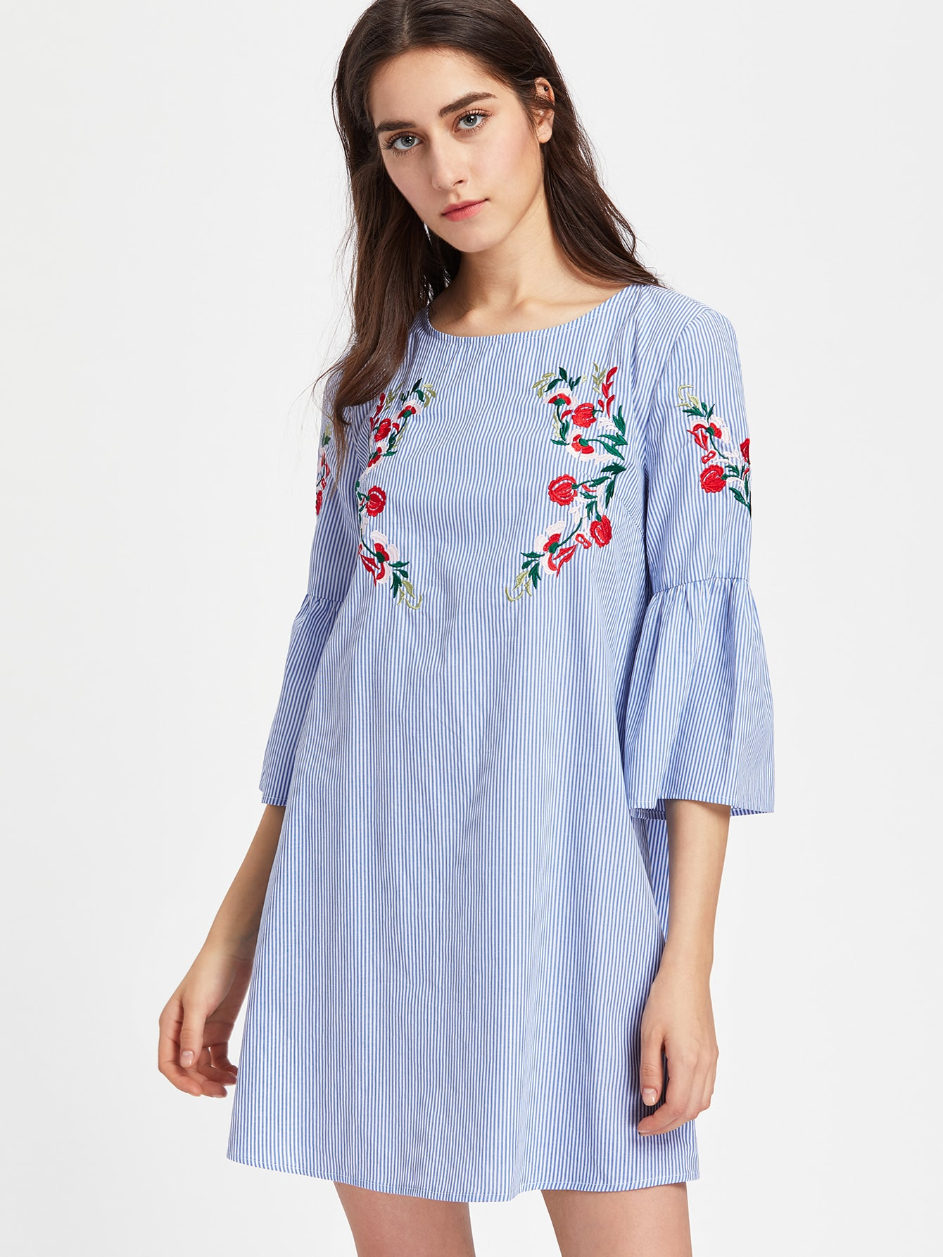 Фото Fluted Sleeve Blossom Embroidered Striped Dress. Купить с доставкой