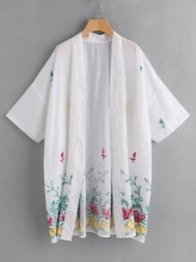 Kimono botanique brodé avec la chute de l'épaule