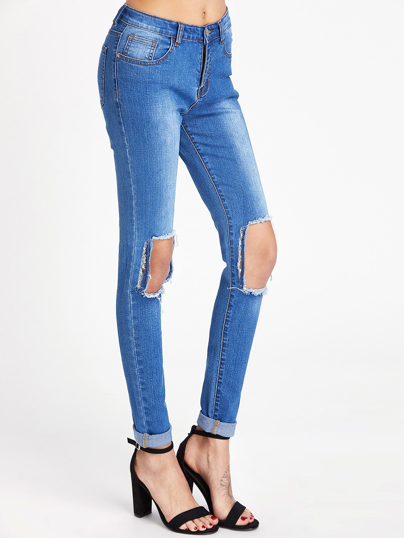 Фото Bleach Wash Cutout Knee Skinny Jeans. Купить с доставкой