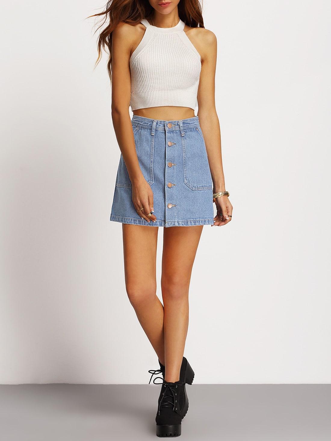 Faded Wash Slant Pocket Button Down Denim Skirt