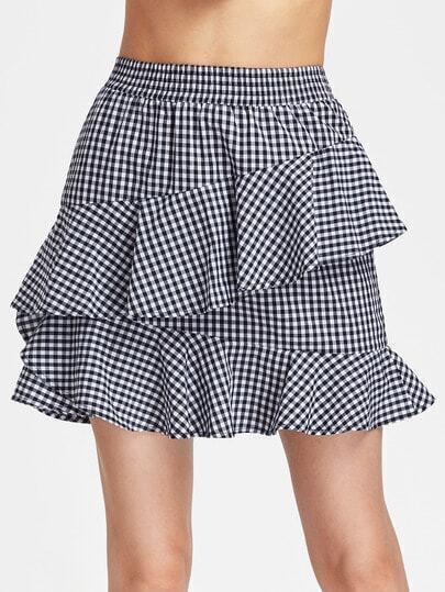 Elastic Waist Asymmetric Ruffle Trim Gingham Skirt
