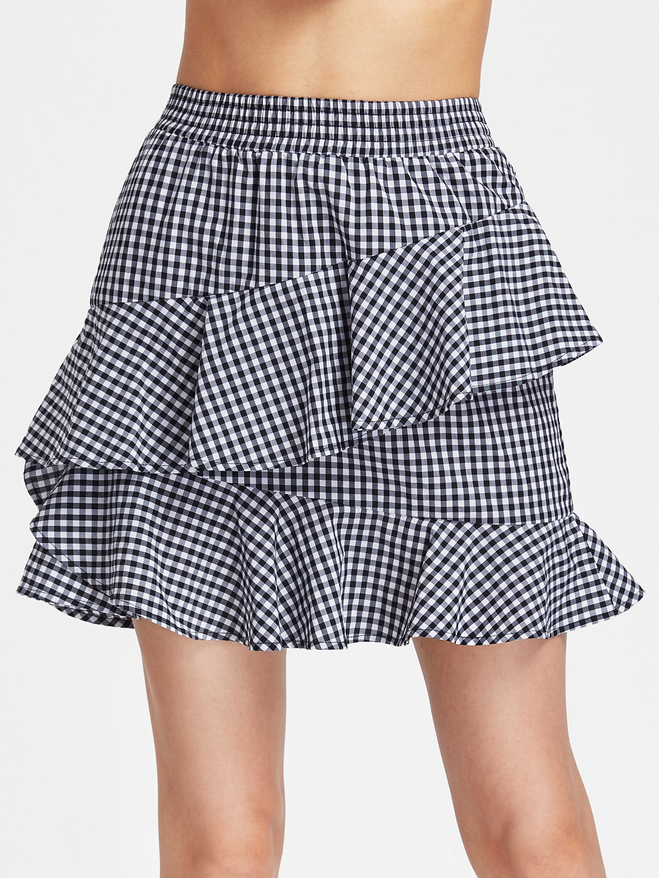 Фото Elastic Waist Asymmetric Ruffle Trim Gingham Skirt. Купить с доставкой