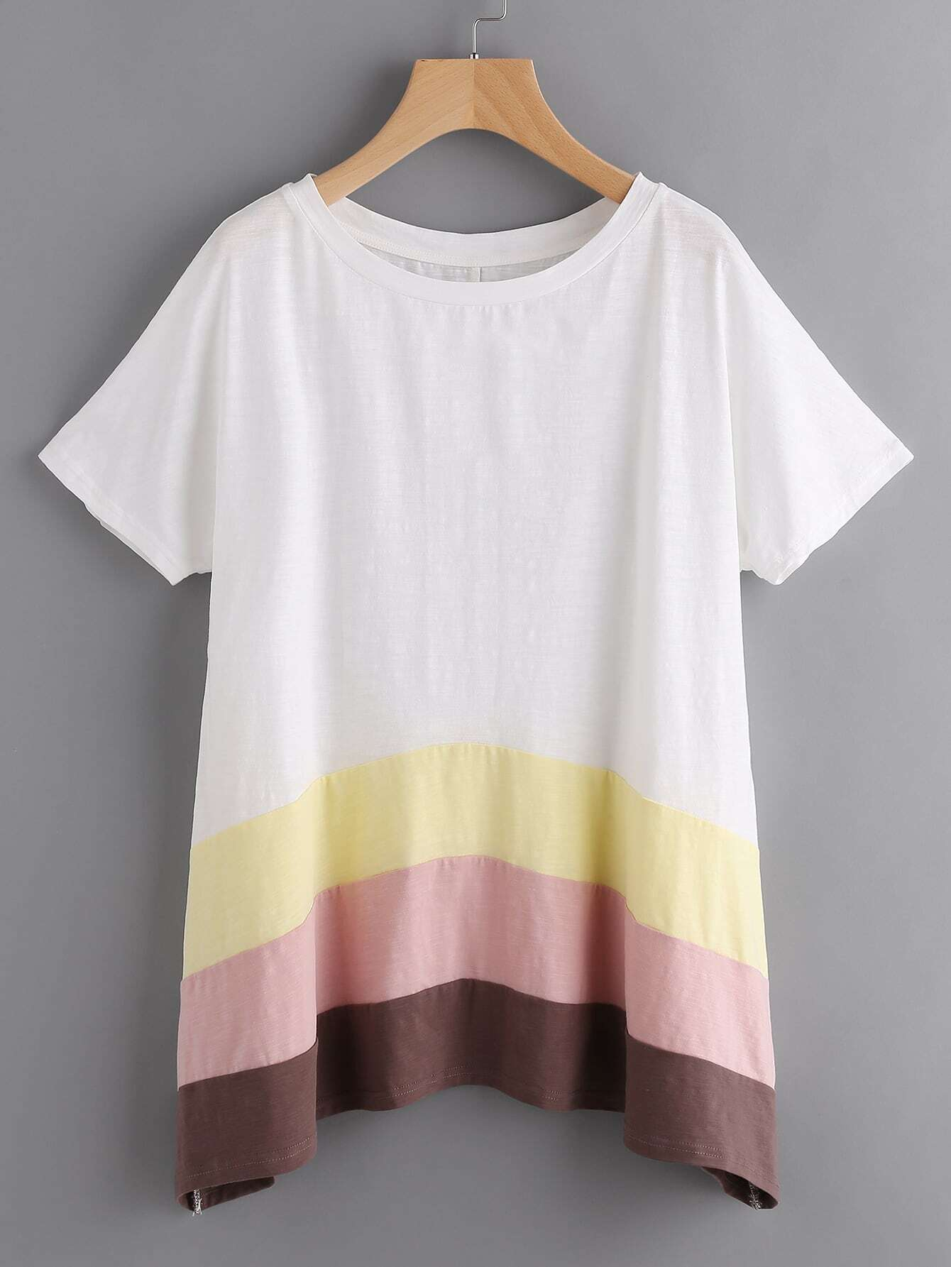 Фото Cut And Sew Hanky Hem Slub T-shirt. Купить с доставкой