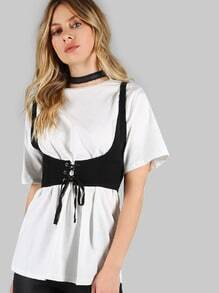 Basic Tee with Attached Vest Top WHITE