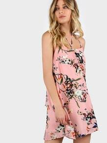 Strappy Choker Floral Dress BLUSH