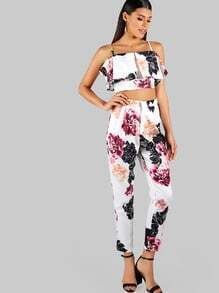Floral Print Flounce Crop and Matching Pant Set WHITE