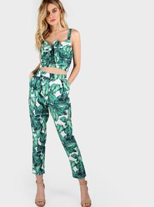 Front Tie Leaf Print Crop and Matching Pant Set GREEN