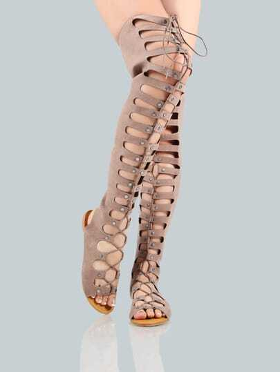 Lace Up Gladiator Flat Thigh Sandals LIGHT TAUPE