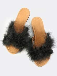 Cross Band Furry Slides BLACK