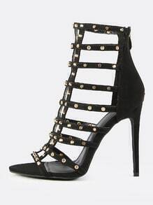 Studded Cage Stiletto Heel BLACK