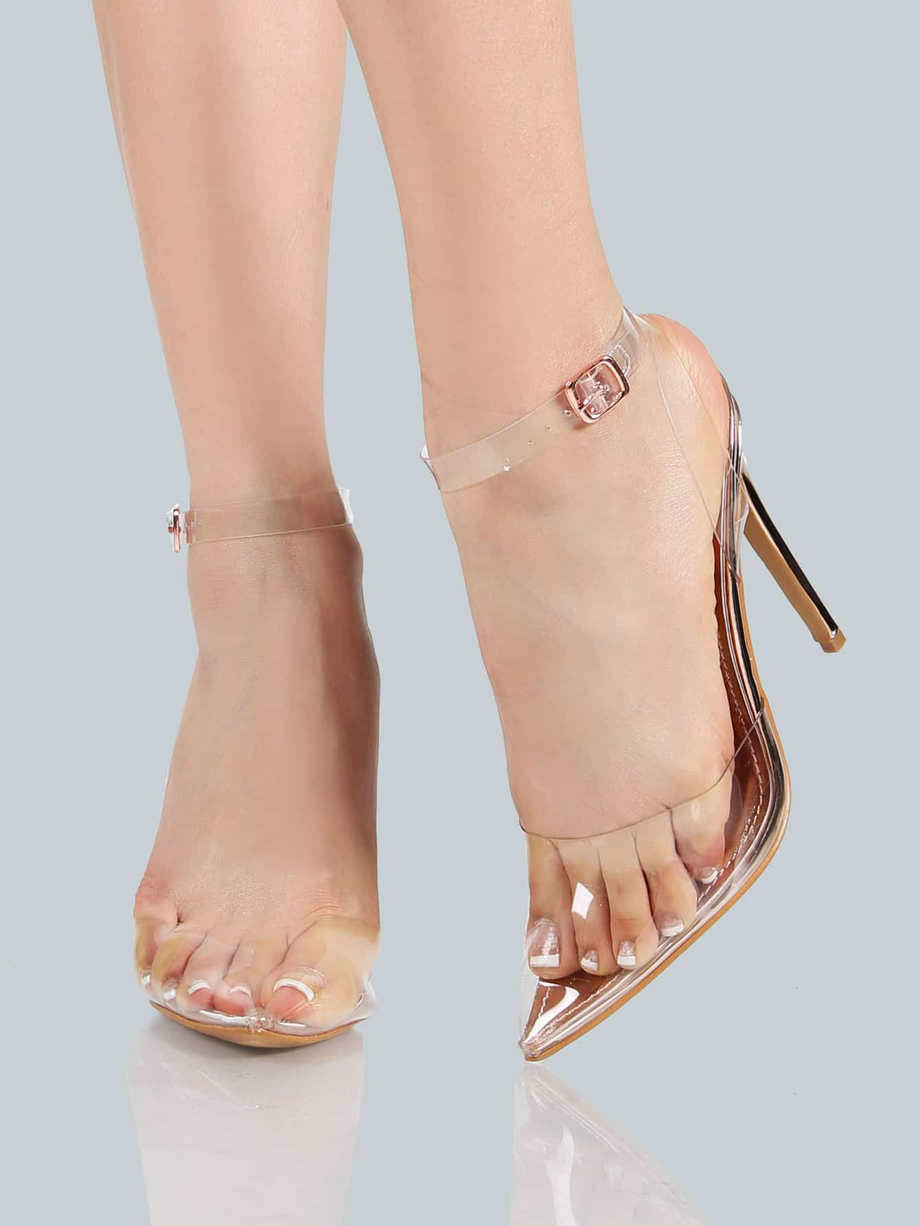 Clear Closed Toe Ankle Strap Heel ROSE GOLD SheIn Sheinside