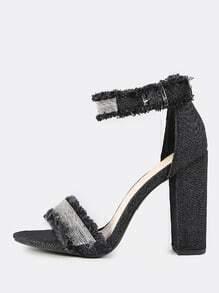 Frayed Beaded Ankle Strap Heels BLACK